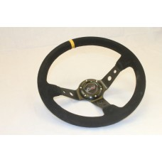 Outlaw Steering Wheel Dished Black Round Spoke Black Suede Yellow Stripe