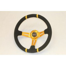 Outlaw Dished Steering Wheel Gold Spoke