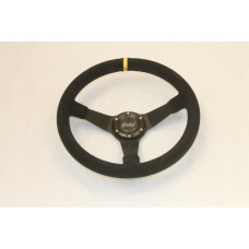 Outlaw Dished Steering Wheel Black Suede
