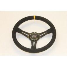 Outlaw Steering Wheel Dished Black Suede Twin Spoke Yellow Stripe