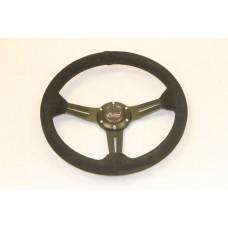 Outlaw Steering Wheel All Black Suede Black Spoke